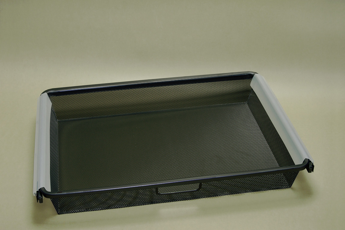Корзина Mesh 60 см, 1 рельс, в сборе с рамой, графит, Elfa® - фото
