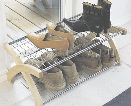 Двухъярусная обувница вмещает до 6 пар обуви